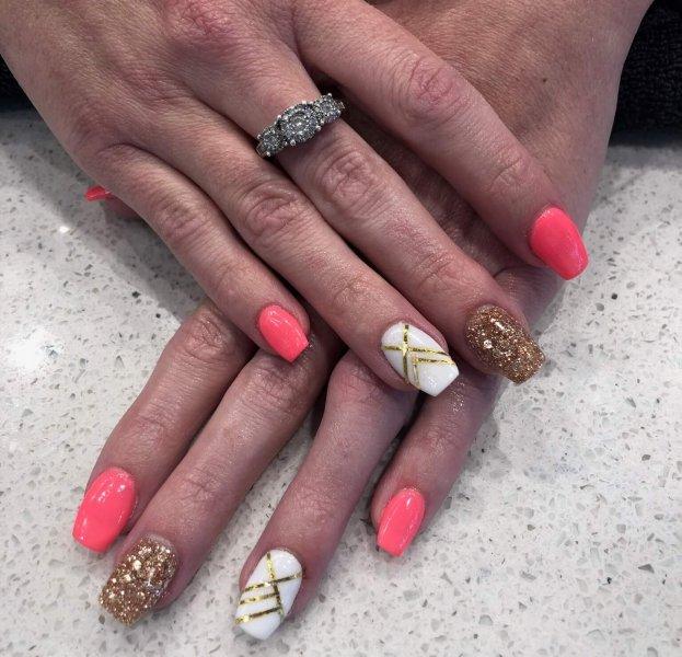 pink and gold nail art