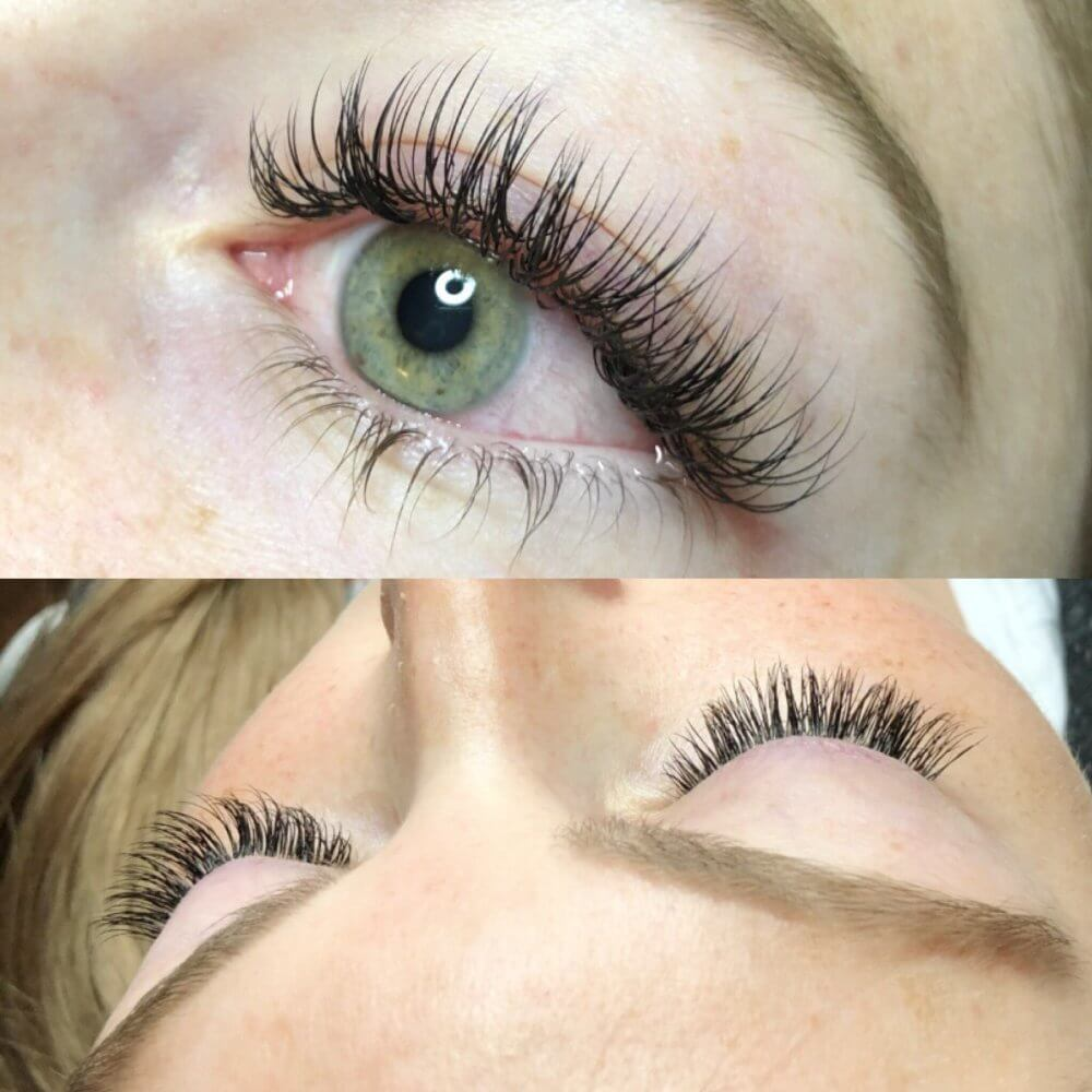 before and after lash extensions