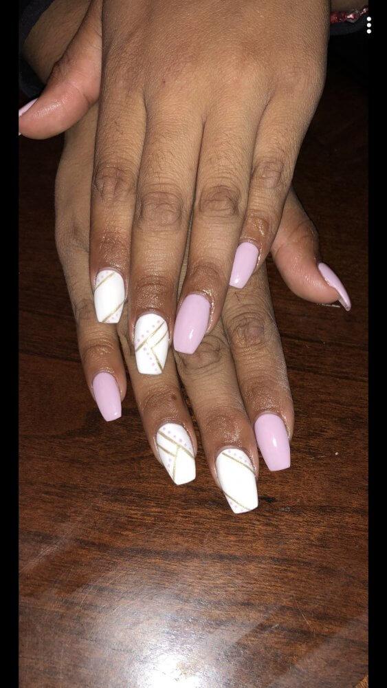 light pink and gold nail art