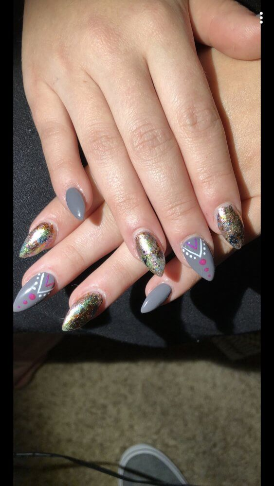 grey and sparkle nail art