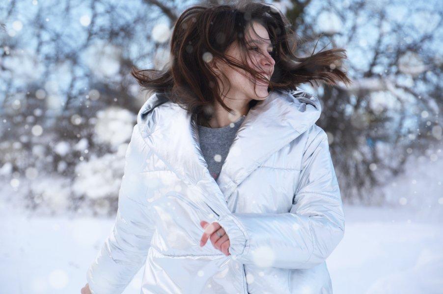 women in winter field
