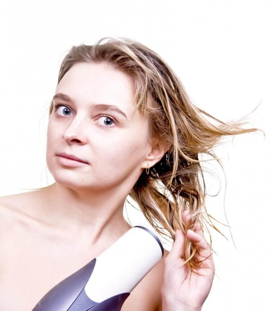 wet hair drying